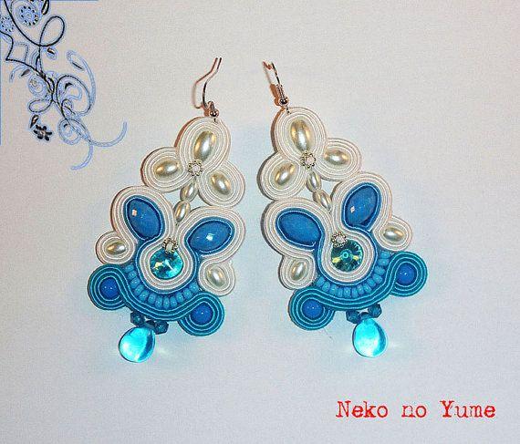 Soutache bridal earrings  Turquoise Romance by IzabelaCichocka