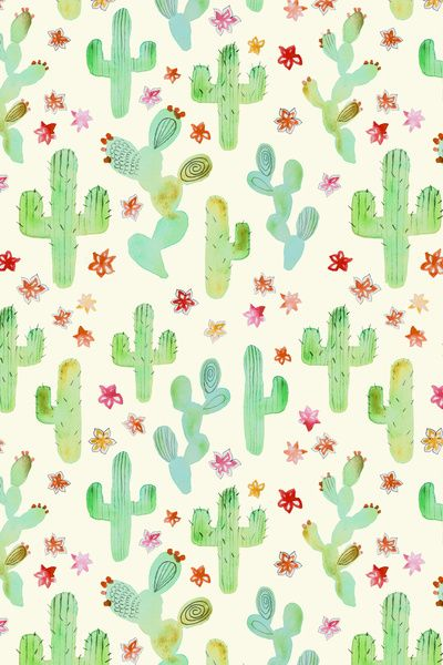 || this Watercolor Cacti Art Print makes a great print for children's textile ||