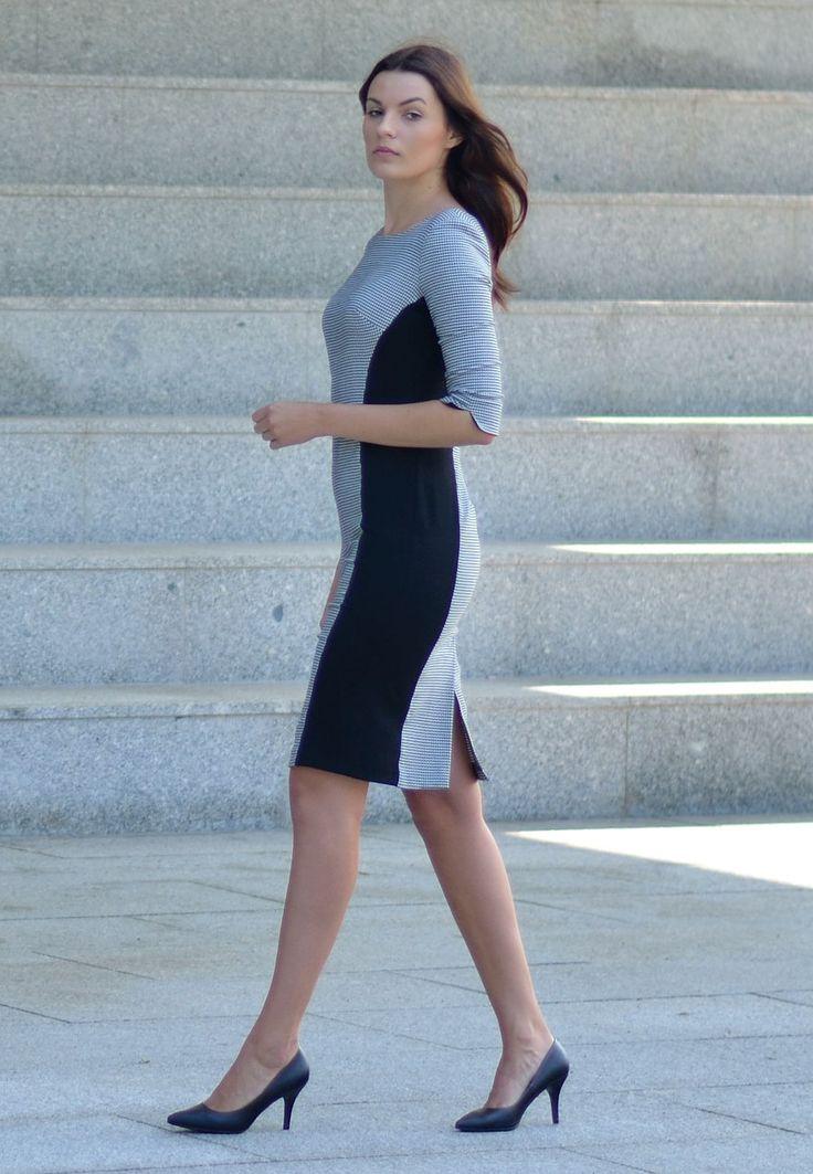 Niezwykła sukienka w pepitkę biało czarną.  http://besima.pl