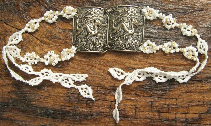 Embroidered lace with vintage dragons bracelet by https://www.facebook.com/pages/Beloved-Vintage-Bridal-by-Jacq-Brill/119683038049034