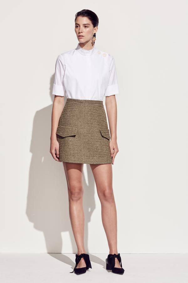 The Sedum Short Sleeve Shirt and Wisteria Skirt by CAMILLA AND MARC from their Resort 2016 Collection.