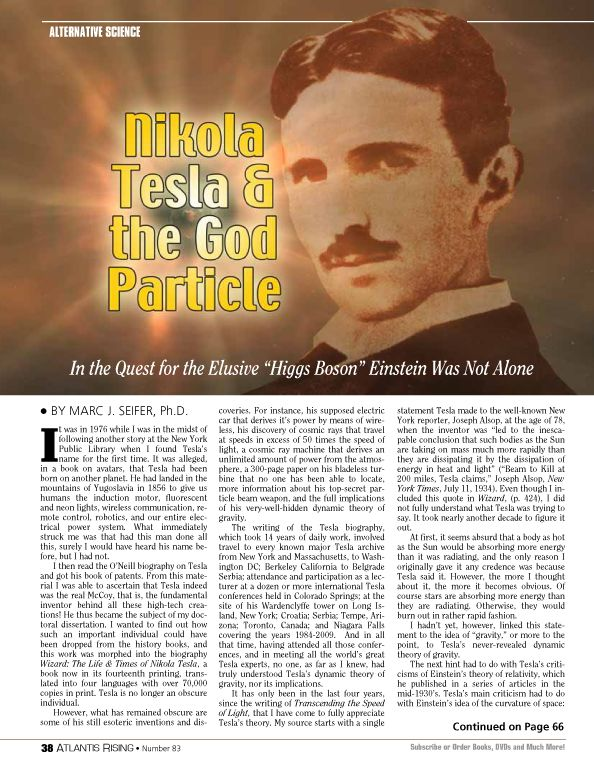 We're NOT advocating to register, sign in or purchase a magazine the idea of Nikola Tesla and the 'God' particle is something that caught our attention.