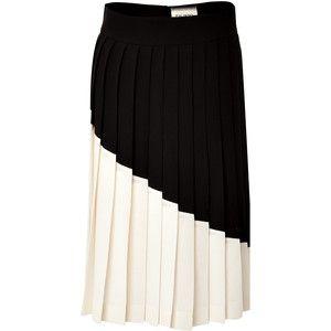 FAUSTO PUGLISI Colorblock Pleated Wool Skirt