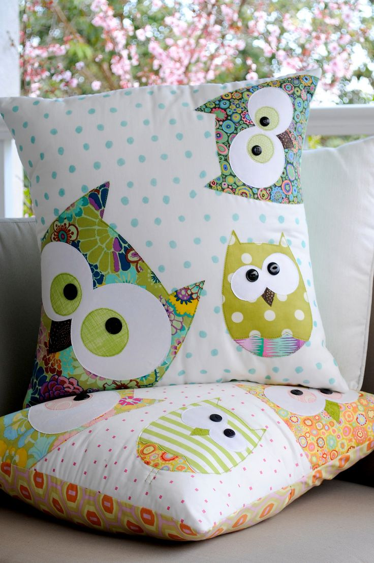 "A Family of Owls Applique cushion Pattern by claireturpindesign - I rarely have the urge to sew anything, but something about this makes me say, ""I want!""  (even if it DOES ship from Australia)  (Seriously - it's a pattern.  They can't make a PDF?)"