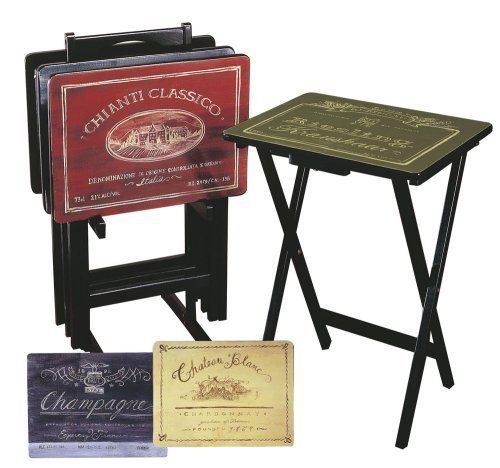 Cape Craftsman TV Tray Set with Stand, Wine Label, Set of 4 by Cape Craftsman. $164.99. Included stand. TV trays fold for storage in stand. Wine Label pattern. One each of 4 designs. Some assembly required. Set of 4 TV trays with stand
