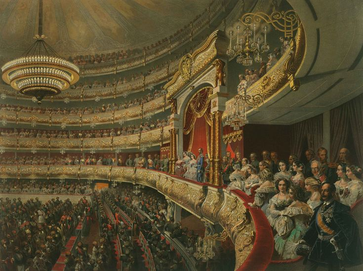 Performance in the Bolshoi Theatre, Mihály Zichy, 1856, Alexander II. Coronation Book of 1856