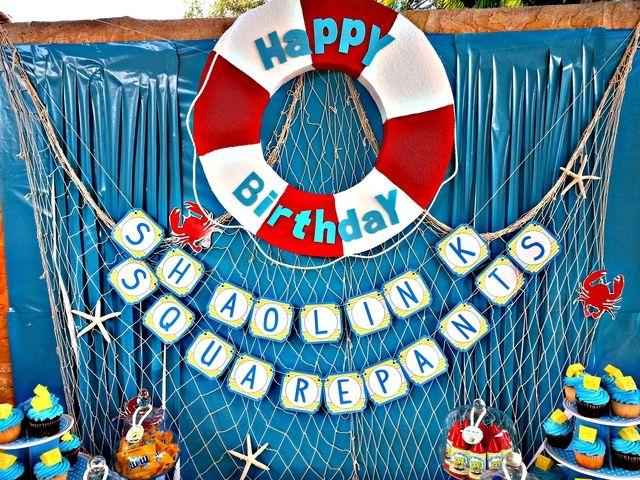 Spongebob Square Pants Birthday Party Ideas | Photo 6 of 33. Decoración de cumpleaños Bob Esponja Fondo de Bikini.