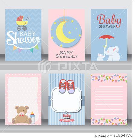 baby shower invitation card. vector | イラスト | Pinterest