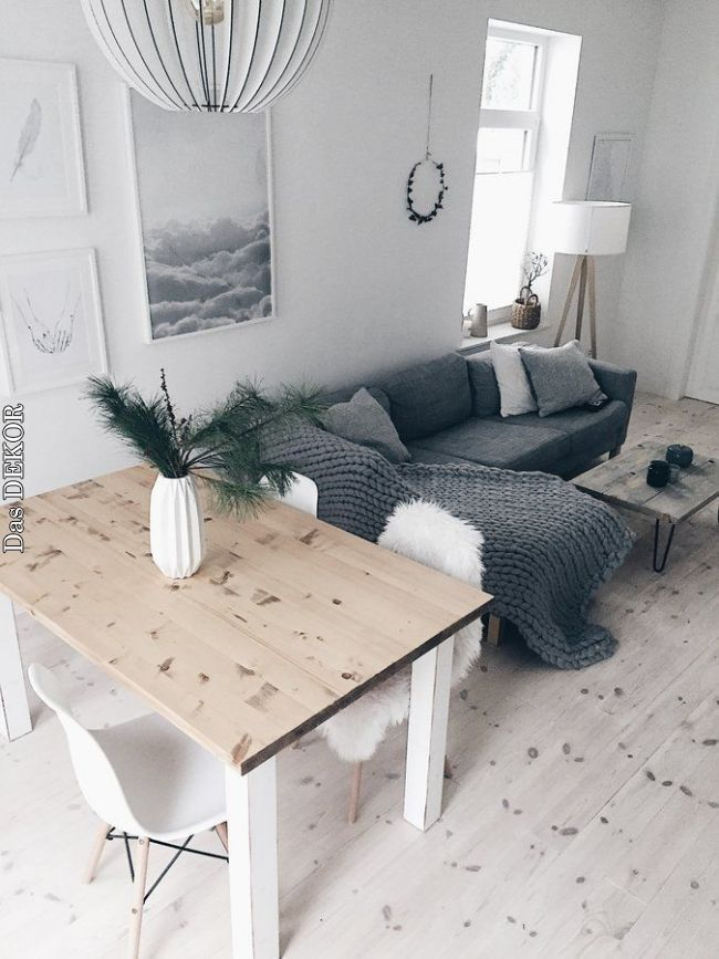 Living and dining room in Scandinavian look