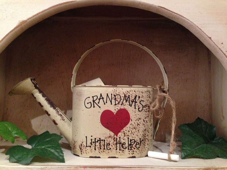 Metal Decorative Watering Can*Grandma's Little Helper*Chalk*Country Decor* #NaivePrimitive