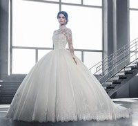 Decoration:Sequined,Embroidery,Pearls,Lace Silhouette:Ball Gown Train:None Wedding Dress Fabric:Lace