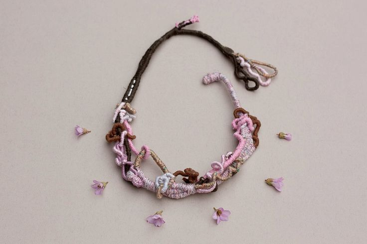 Statement fiber necklace hand wrapped jewelry pink by rRradionica