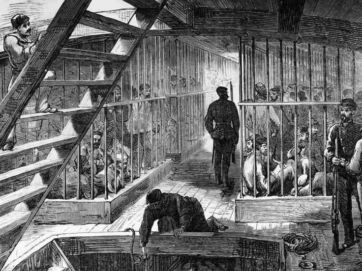 Caged convicts on a ship bound for Australia. The average journey time to the penal colony was 102 days