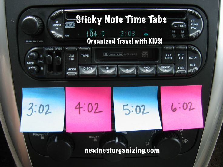 Sticky Note Time Tabs for Organized Travel with Kids - Neat Nest Organizing