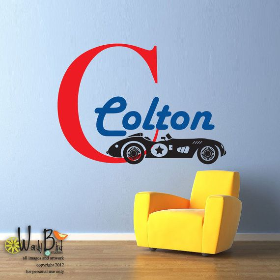 Vintage Race Car Theme Monogram   Personalized   Vinyl Wall Decal Sticker  Art For Nursery, Childrens Room, Kids