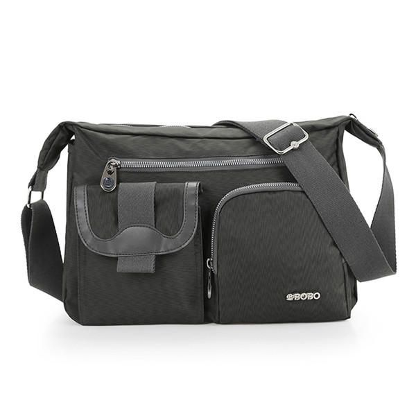 Lightweight Nylon Waterproof Messenger Bags Multi Zipper Pockets Shoulder Bags C - US$20.99