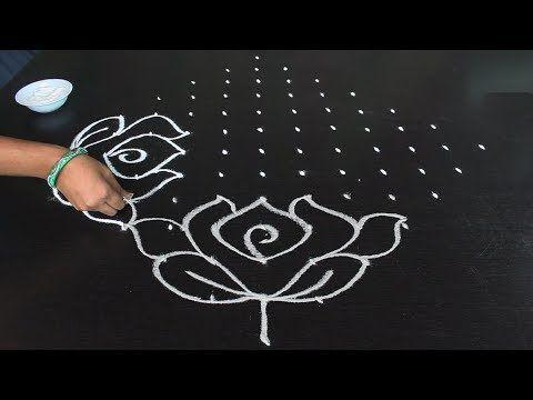 Simple Rangoli Designs 13 1 Dots Lily Flower Rangoli Kamalaa Puvvu