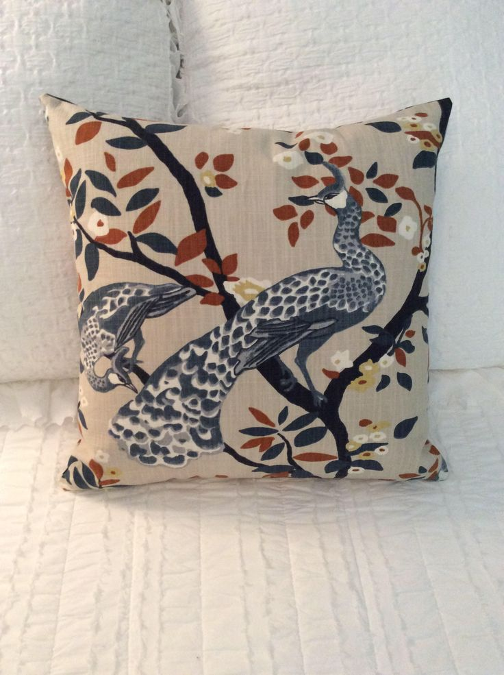 "Decorative, designer, 20"" x 20"" accent pillow cover, blue, rust and tan, partridge, bird, floral, toss pillow, throw pillow, by TheKoalaTree on Etsy https://www.etsy.com/listing/529462963/decorative-designer-20-x-20-accent"
