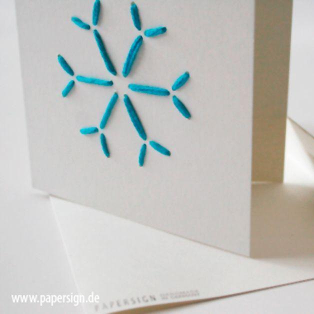 weihnachtskarte STITCH SNOWFLAKE°stickmotiv wolle