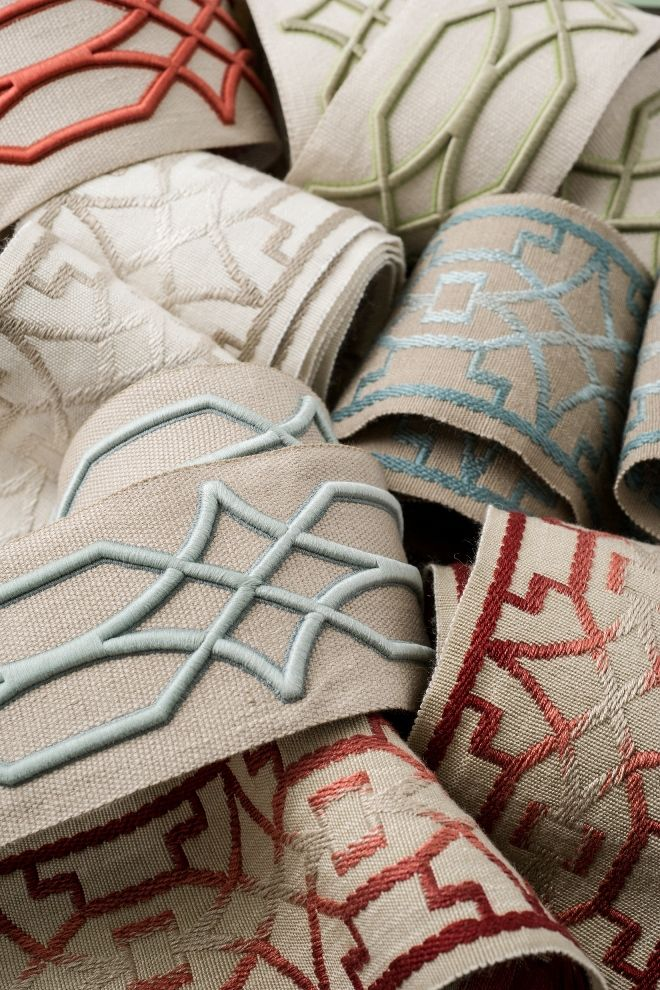 Punctuate your design scheme and define your style with finishing details, such as Charlotte Moss for Fabricut's latest trim collection. Featured tapes: Imatra and Zadar.