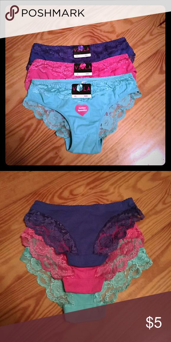NWT Viola Panty Set Three pair of cotton bikini cut panties with lace. Purple, pink, turquoise. Size XL. Which looks to be size 6/7. Viola Intimates & Sleepwear Panties
