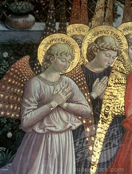 Gilded Halos. Stock Photo #475-2108, Angels in a Heavenly Landscape (Journey of the Magi, detail of left side of apse) ca.1460 Benozzo Gozzoli (1420-1497...