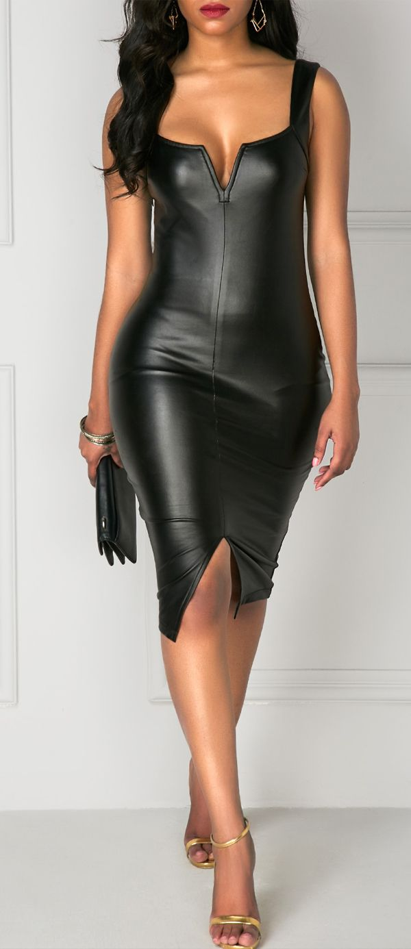 Black Wide Strap Front Slit PU Skinny Sexy Midi Dress, bodycon and high quality of PU fabric, get it hurry.