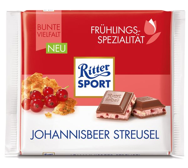 RITTER SPORT Frühlingssorte Johannisbeer Streusel (2017)