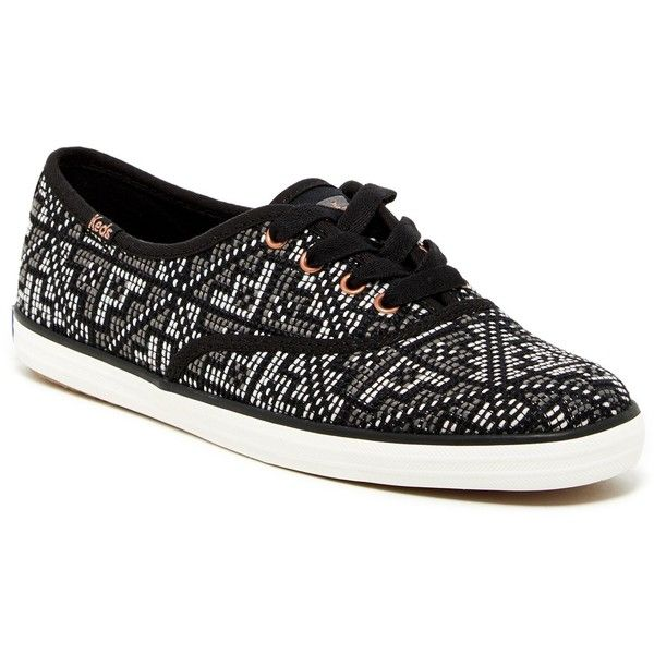 Keds Champion Needlepoint Sneaker ($35) ❤ liked on Polyvore featuring shoes, sneakers, black, keds shoes, print shoes, black sneakers, round toe shoes e black lace up shoes