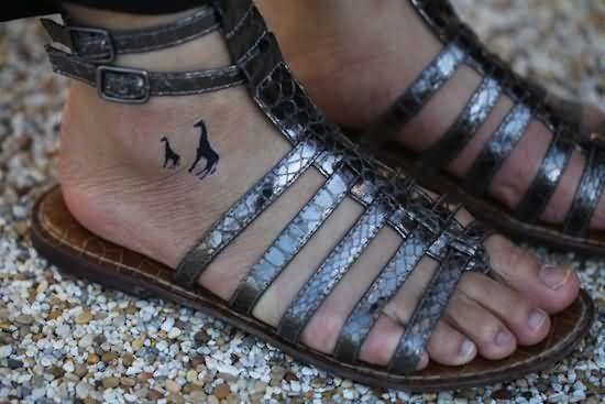 Small Giraffe Tattoos On Right Foot