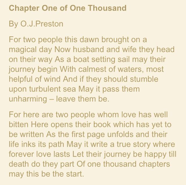 Chapter One Of Thousand O J Preston Humanist Wedding Reading