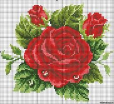 Bordados de rosas en punto de cruz