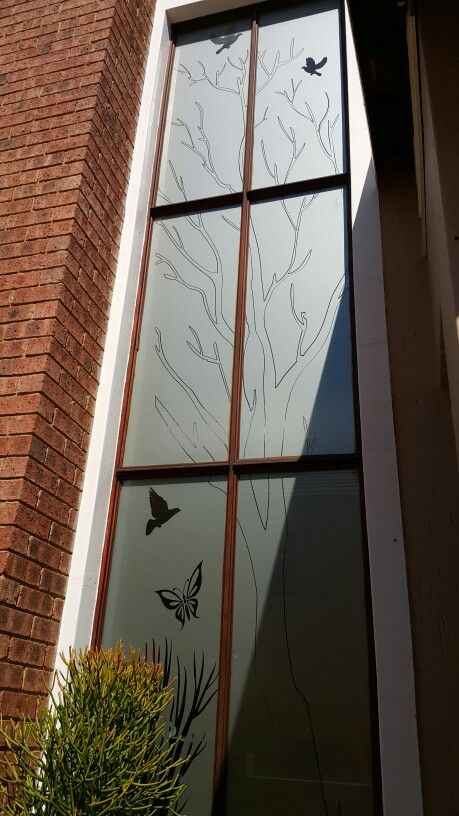 #decorative #frosted #sandblast #vinyl #tree #birds