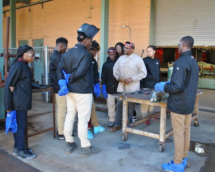 Local high school students are taking welding classes at OFTC and are earning both high school and college credit at the same time for free through the dual enrollment program. These students are gaining hands-on experience and skills they can take with them after they complete high school. #OFTC #DualEnrollment #DoubleTheCredit #HalfTheTime #Welding [Photo description: welding students listening to their instructor during a lab exercise]
