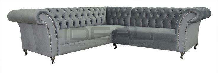 Niebanalny szary narożnik Chesterfield (grey Chesterfield Corner sofa)  Sofy Stylowe - Narożnik Chesterfield Avon Ludwik - Ideal Meble