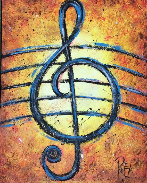 Title: Treble Clef  - Medium: Acrylic - Support: Stretched Canvas. Staple-free edges.  - Size : 16 x 20 x .75  - The sides of the canvas are
