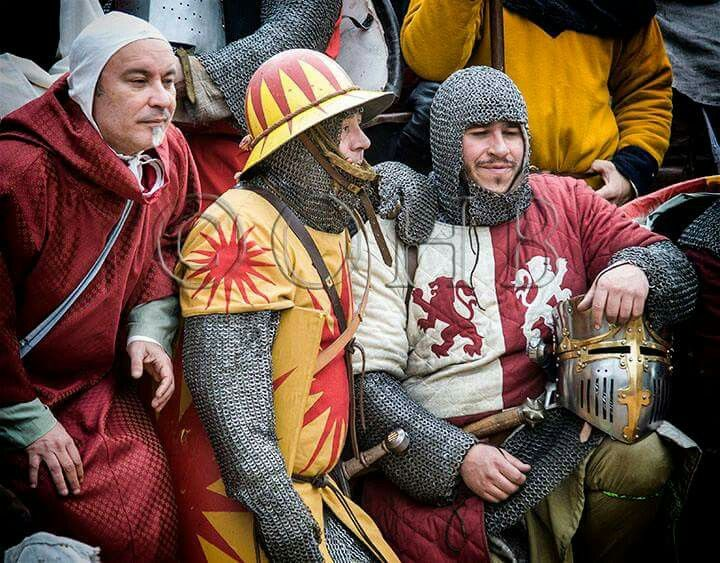 Spanish medieval soldiers having a rest.