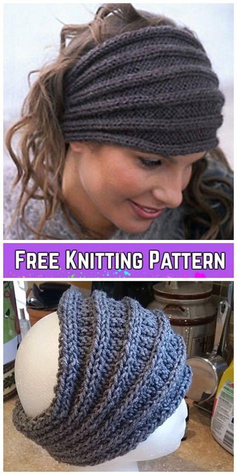 Knit Saturn Rings Headband com nervuras grátis Knitting Pattern