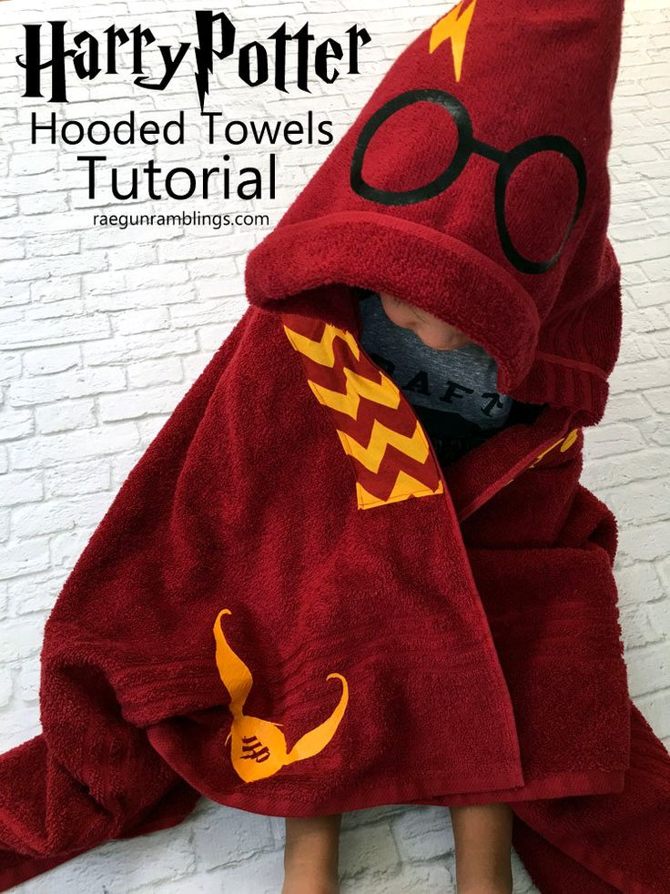 SO awesome Harry Potter Hooded Towels. Full DIY sewing tutorial