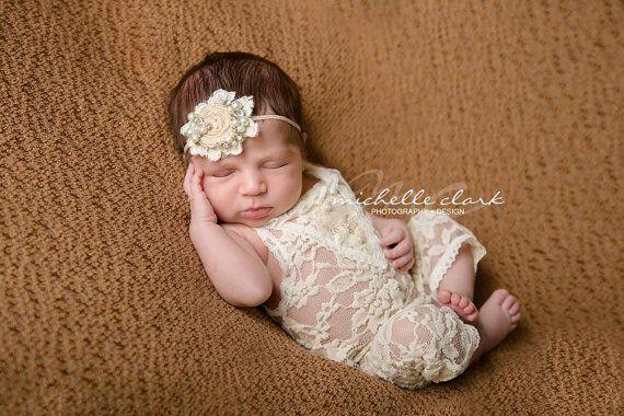 Newborn Lace Romper Newborn Girl Romper by LovelyBabyPhotoProps