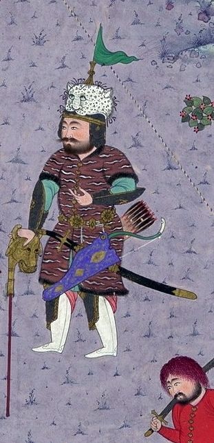 "Persian bull headed mace, detailed view. ""Rustam Brings the Div King to Kai Kavus for Execution"", Folio 127v from the Shahnama (Book of Kings) of Shah Tahmasp Author: Abu'l Qasim Firdausi (935–1020) Artist: Painting attributed to Mir Musavvir (active 1525–60) Artist: Painting attributed to Qasim ibn 'Ali (active ca. 1525–60). Folio from an illustrated manuscript. Date: ca. 1525–30, Iran, Tabriz, Met Museum."