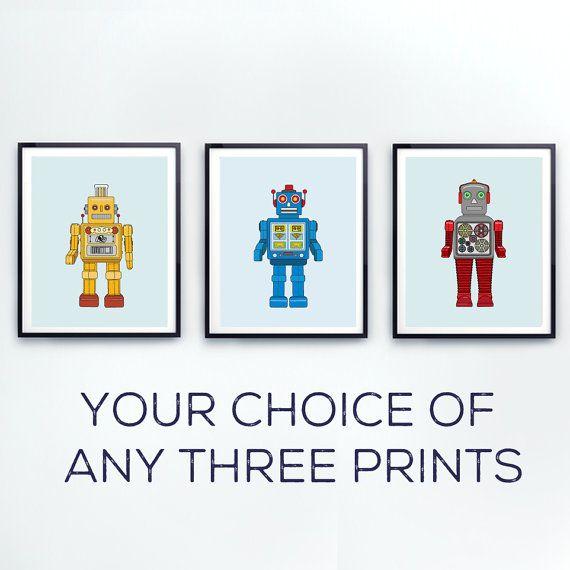 Robot Nursery decor Toddlers wall art Robot by LittleGrippersStore