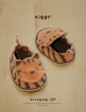 Tiger Baby Booties Crochet PATTERN from mulu.us | This pattern includes sizes for 0 - 12 months.