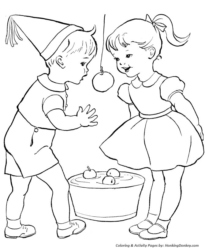 Valentine's Day Kids Coloring Pages - Apple Bobbing