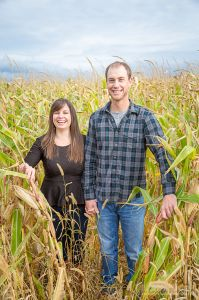 two farm kids are going to get hitched, an engagement session in a corn field