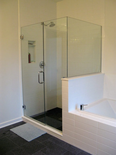 extra large subway tile in the bathroom. Black Bedroom Furniture Sets. Home Design Ideas