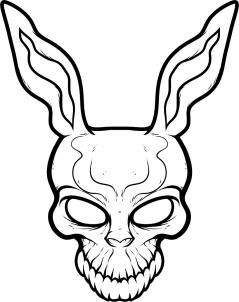 how to draw frank the rabbit, donnie darko step 7