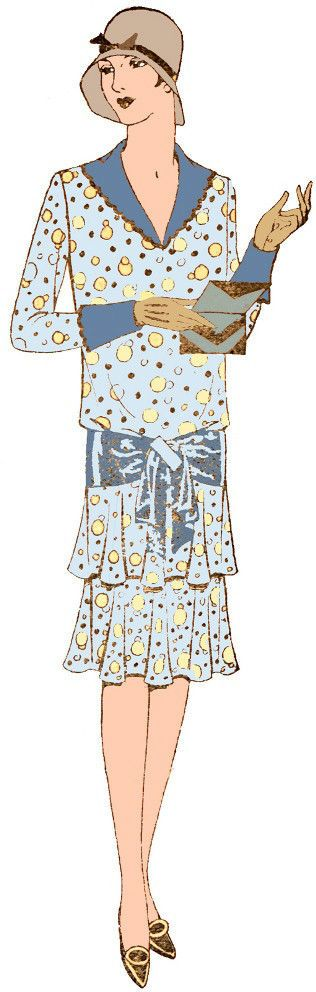 #Z69376 - 1920s Ladies Slip-On Dress with V-Neck Sewing Pattern - Flapper