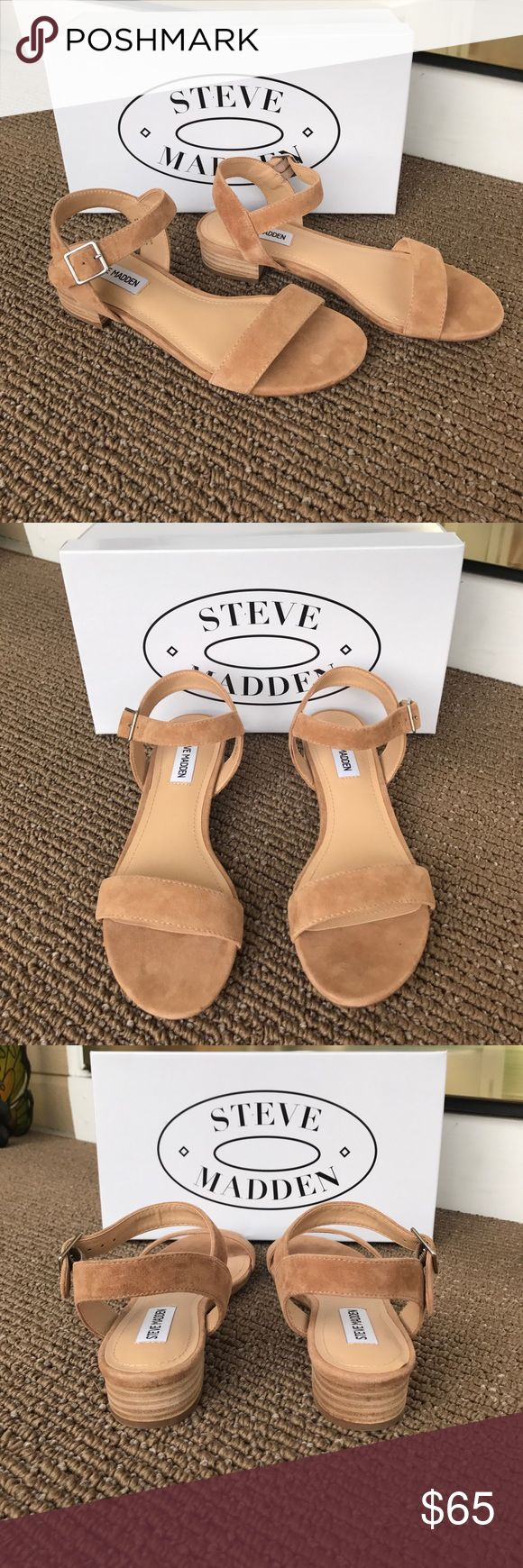 Steve Madden Cache Camel Suede Sandals NIB - These Sandals are Trendy and Very Comfortable - All Suede & Very Soft - I ordered these from Steve Madden - I ❤️ them but are unfortunately a little too big (I need a 6) and I waited to long to return them. They have never been worn outside - Has a Low Stacked Heel - Man made Lining & Sole - Has a Silver Buckle with Adjustable Strap - Price Firm unless Bundled for a Discount! Steve Madden Shoes Sandals