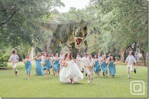 Giant Dinosaur chasing the entire wedding party out of their ceremony -Dramatically Best Wedding Photo
